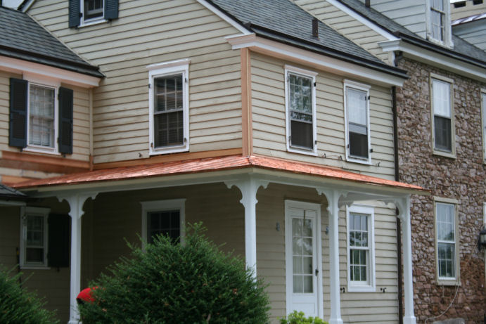 Charming COPPER STANDING SEAM HAND FORMED PORCH ROOF