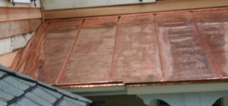 Copper roof detail for Standing seam copper