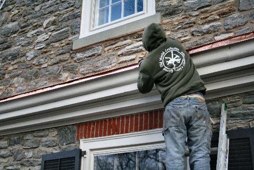 Olde World Craftsman works on custom copper roof in St. Davids, Pa.